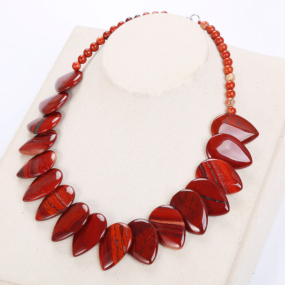 AAA Natural stone necklace Red Jasper Leaf Big Necklace Women Flower Pendant Reiki Jewelry Chain Water droplets Colares necklace alloy rose flower pendant necklace
