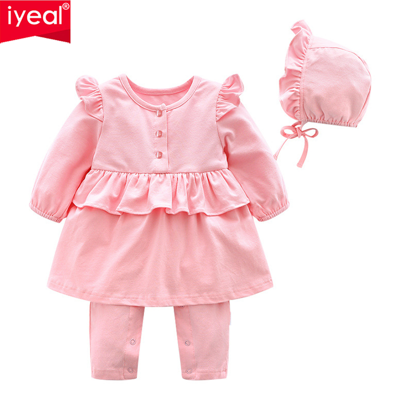 IYEAL Princess Newborn Baby Girl Clothes Ruffles Long Sleeves Romper With Hat Toddler Infant Jumpsuit Outfits Kids Baby Clothing emmababy summer newborn infant baby girl ruffles sleeveless romper flamingo jumpsuit sunsuit clothes outfits baby clothing