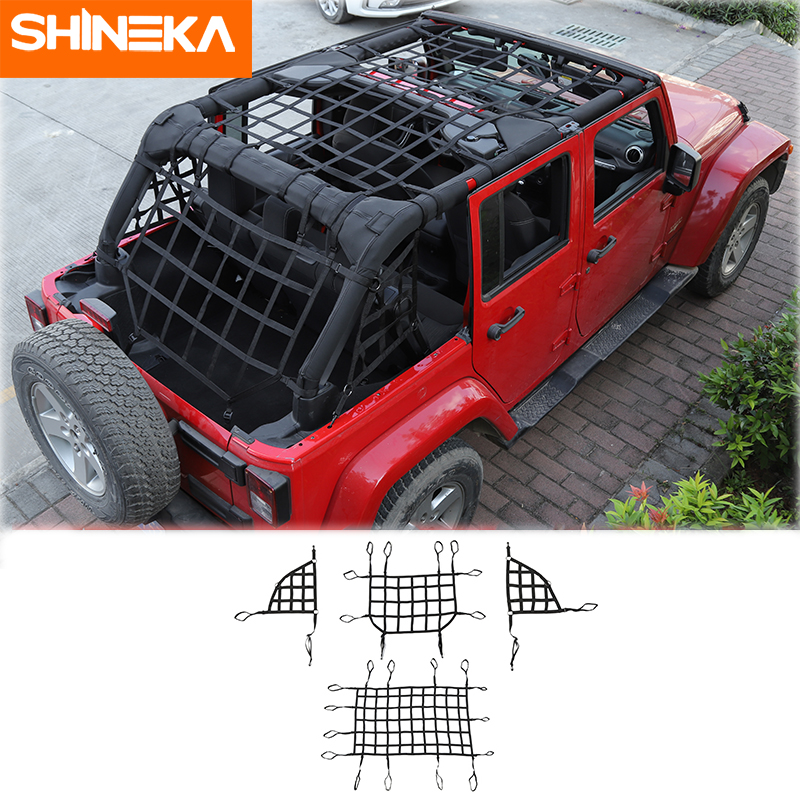 SHINEKA For Jeep Wrangler JK JL 2007 2019 Car Trunk Roof Luggage Carrier Cargo Basket Trail