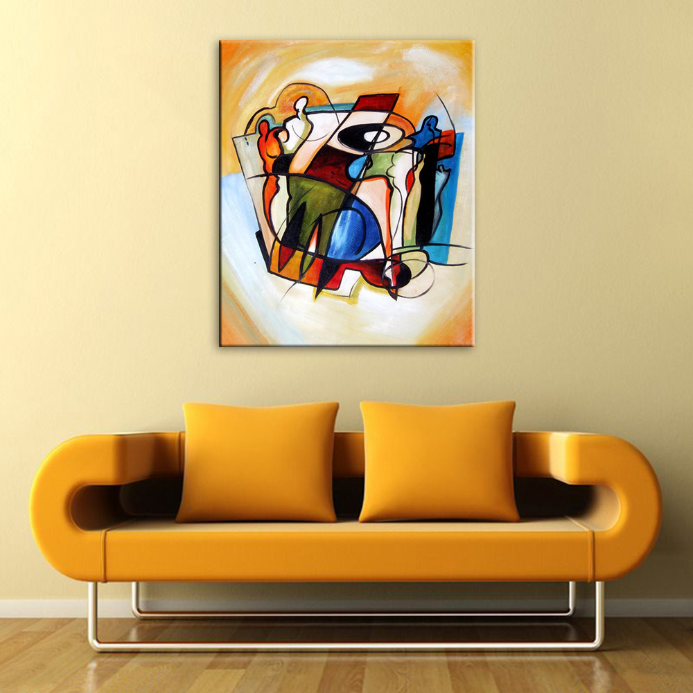 Modern Hand Painted Abstract Musical Instruments Oil Painting Canvas ...
