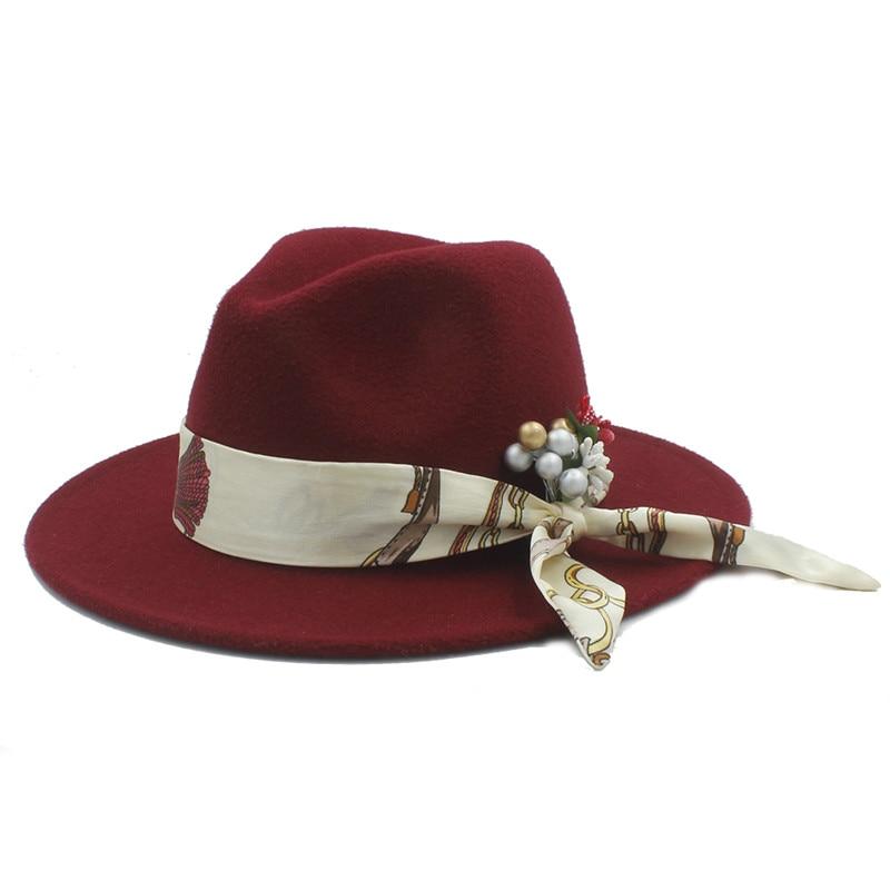 100% Wool Women Felt Fedora Hat With Flower Cloche Ribbon ...