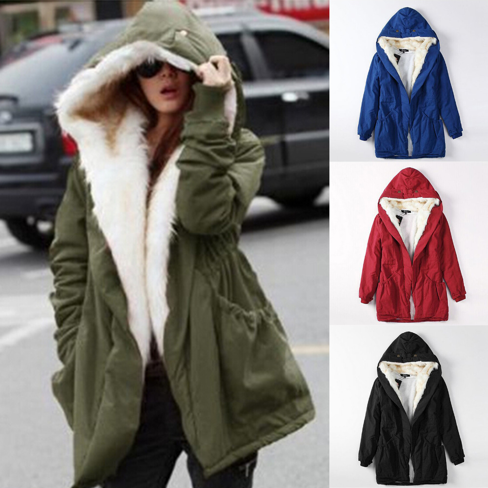 Online Shop Winter Jacket Women Fleece Tops Faux Fur Lined Hooded ...