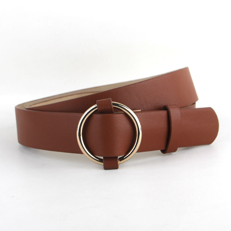 Newest Gold Round buckle belts female HOT leisure jeans wild belt without pin metal buckle brown leather black strap belt women 5