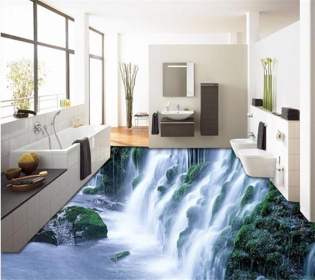 Benutzerdefinierte Dekorative Schlafzimmer Wohnzimmer Selbst Adhesive Boden Natur Wasserfall Landschaft Moderne 3d Bodenbelag Tapete Beibehang