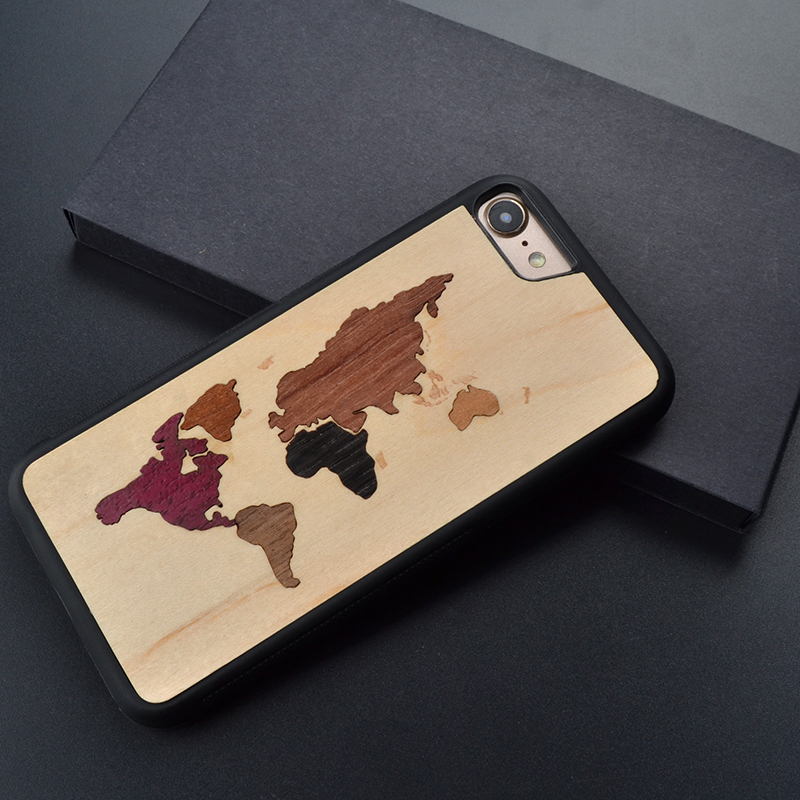 World map Splicing retro original unique real wood phone case for iPhone 6 s 7 8 plus X wooden cover For Huawei P 10 plus
