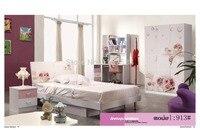 913 Спальня мебель кровать гардероб тумбочка вращающееся кресло стоячая вешалка для шляп набор мебели