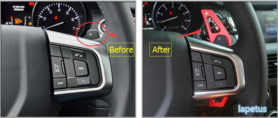 Lapetus Steering Wheel Gear Shift Paddles Decoration Stickers Cover Trim 2 Pcs For Land Rover Discovery Sport 2015 2019 Metal in Interior Mouldings from Automobiles Motorcycles