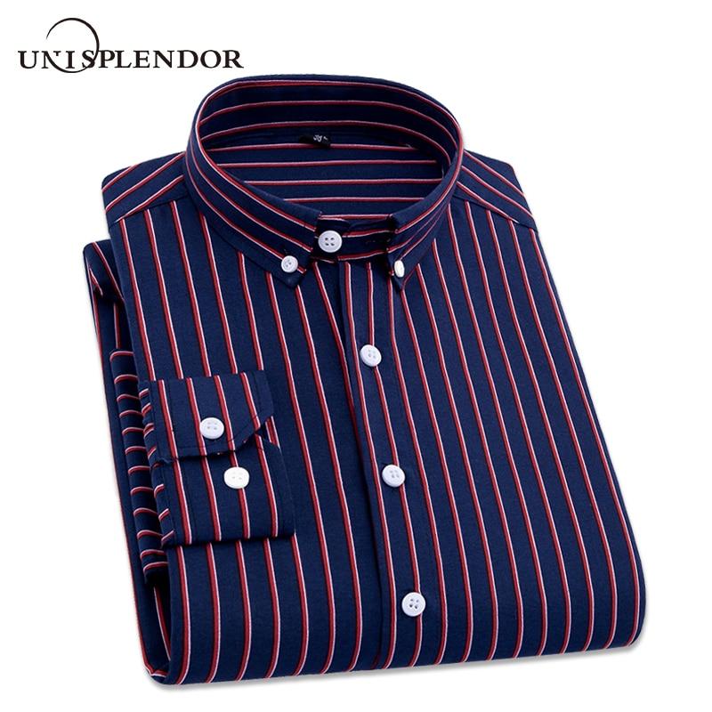 2018 Mens Business Casual Long Sleeved Shirt Men 4XL Plus Size Shirt Classic Striped Male Social Dress Shirts Outwear YN10235