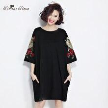 BelineRosa 2017 Плюс Размер женская Одежда Европейская Мода Роуз Вышивки женская Черная Футболка Dress Fit L ~ 4XL TYW0255