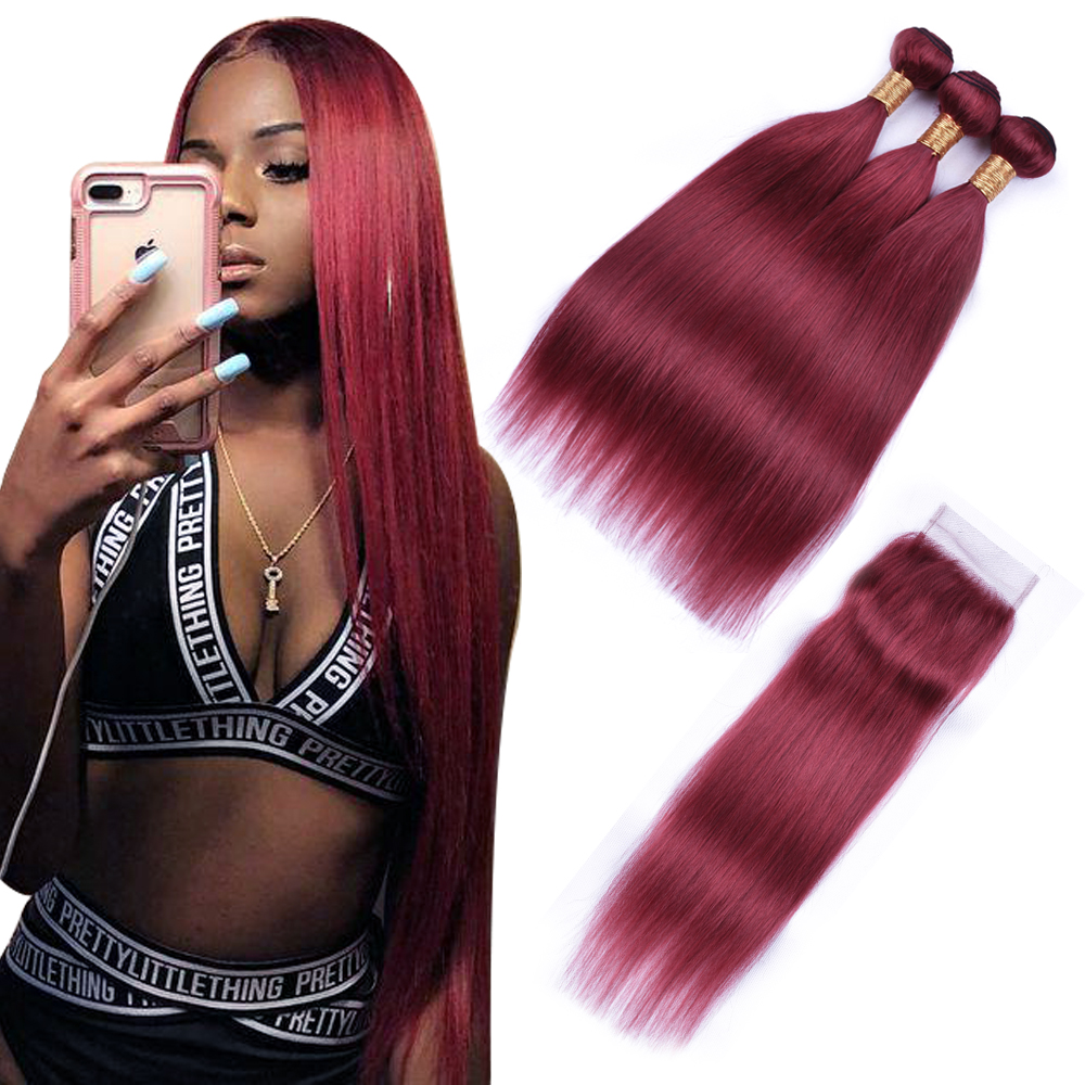 Brazilian Straight Hair Bundles With Closure 3 Bundles Brazilian Straight Human Hair With Lace Closure 99J