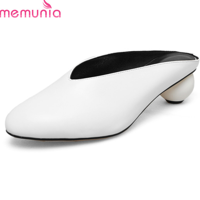 MEMUNIA 2018 new arrive women slippers genuine leather fashion summer shoes big size 33-43 classic round toe shallow mules shoes ouqinvshen spherical heel mules shoes round toe plus size 34 43 genuine leather yellow white ladies shoes fashion slippers women