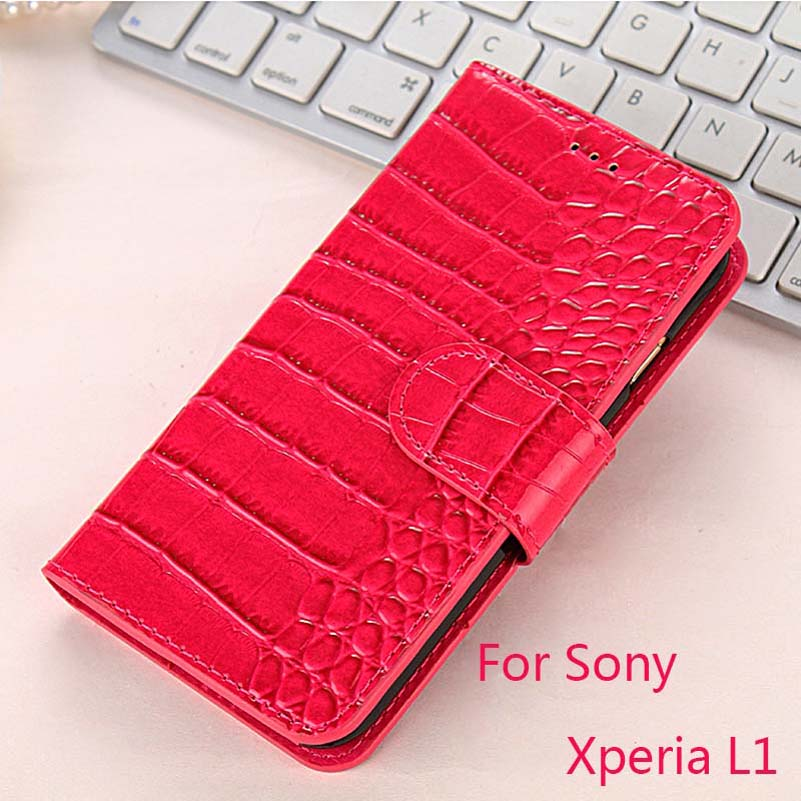 K&#8217;Try Alligator Skin Wallet Pu Leather <font><b>Phone</b></font> <font><b>Case</b></font> Luxury Elegant Cover <font><b>Case</b></font> For Sony <font><b>Xperia</b></font> <font><b>L1</b></font>