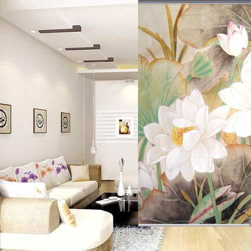 100 Cm200 Cm Beautiful Rustic White Lotus Flower Print Room Cafe Decoration Roller