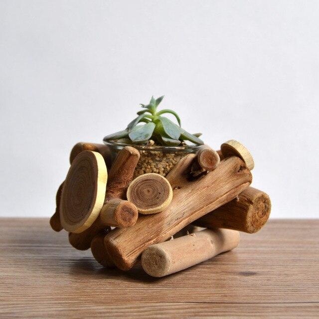 Hbitat vida lenta de madera hechos a mano adornos de madera macetas