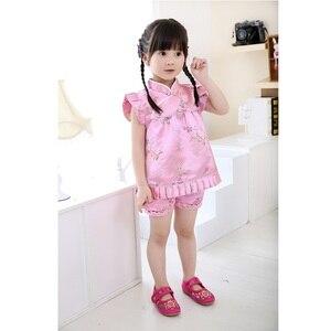 Image 3 - Hooyi mavi Çiçek bebek kız giysileri takım elbise moda Çocuk Giyim seti Bebek yaz kıyafetleri Jumper takım elbise Qipao
