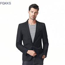 FGKKS мужские модные блейзеры мужские высококачественные однотонные приталенные костюмы для мужчин деловые Повседневные Удобные пиджаки