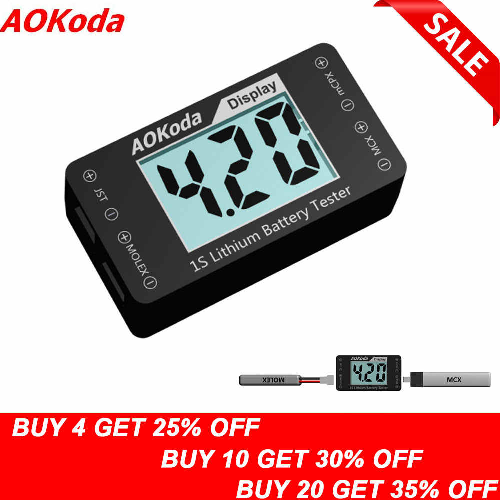 AOKoda AOK-041 1S Lithium Battery Tester Indicator for Checker For JST MOLEX mCPX MCX Plug Connector Battery Voltage