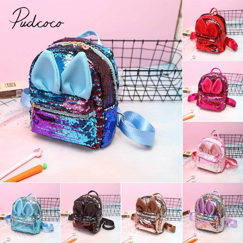 2019 Kids Accessories Girls Sequins Backpack Glitter Bling School Travel Rucksack Handbag Bunny Ears Solid Shoulder Bag Gifts