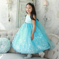 Sweet Girls Summer Dress Blue Color Floral Party Sleeveless Baby Kids Girls Princess Ball Gown Dresses Girls Clothing 3-9 Years