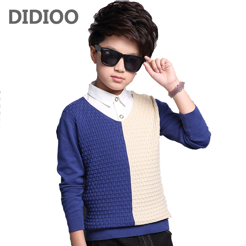 Boys Sweaters for Kids Patchwork Knitwear Autumn Children Tops Teenage Infant Knitted Clothes 10 12 14