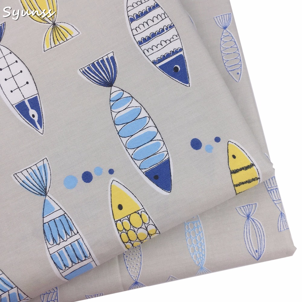 Blue 100/% Cotton Fabric Modern Sewing Feathers Eider
