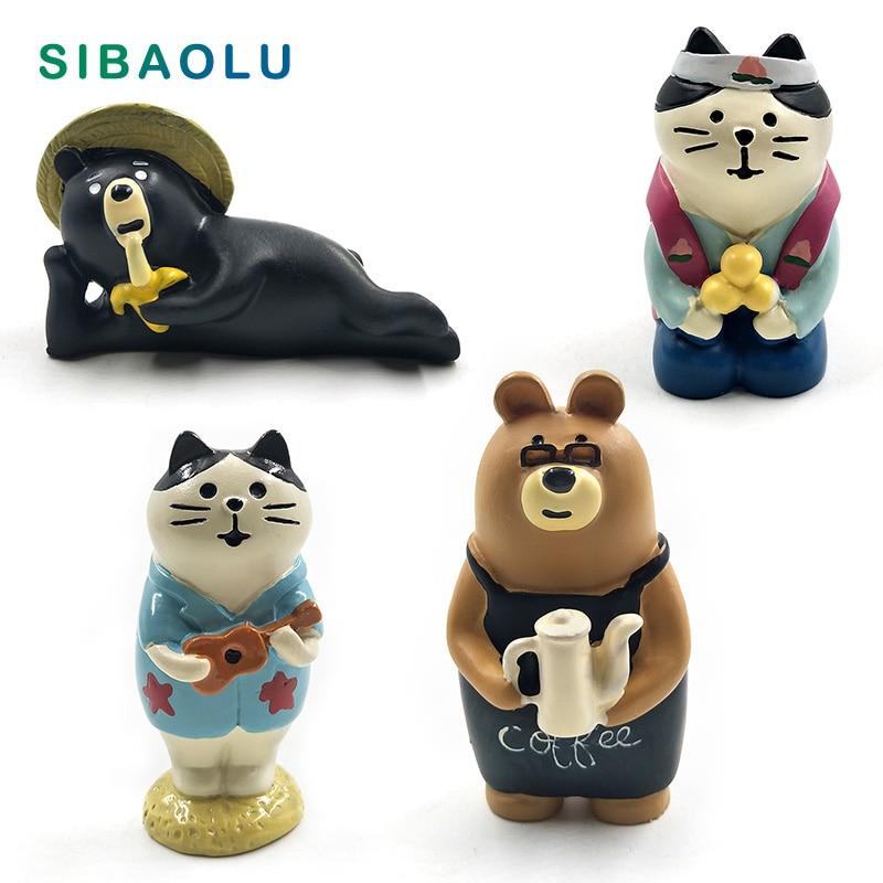 Japan Decole Black Bear Cat figurine cartoon animal Model home miniature fairy garden house cake desk decoration DIY accessories in Figurines Miniatures from Home Garden