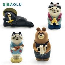 Japan Decole Black Bear Cat figurine cartoon animal Model home miniature fairy garden house cake desk decoration DIY accessories