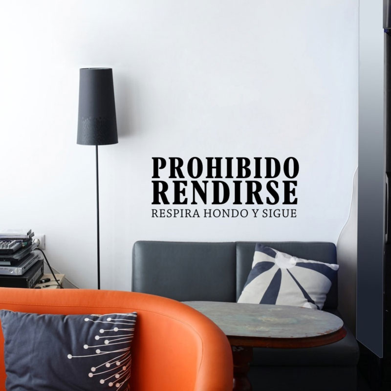 Inspirational Spanish Quotes Prohibido Rendirse Vinyl Art Wall Stickers Bedroom Office Motivation Words Lettering Murals QU21 image