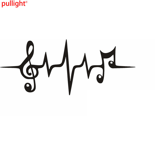 Music Note Heartbeat Graphic Die Cut Decal Sticker Car