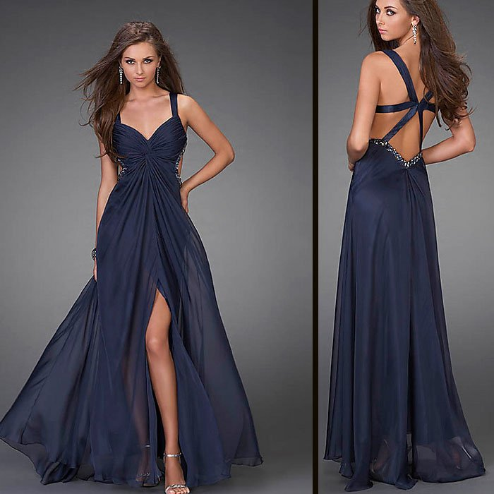 2011 Free Shipping Sexty 100% Guaranteed EV1037 straps Dark Navy chiffon Evening Gown