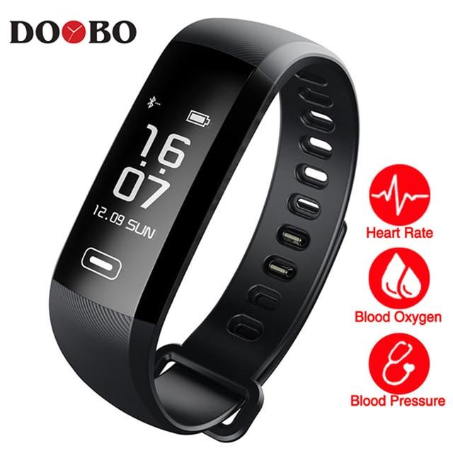 DOOBO blood pressure heart rate monitor Blood oxygen 50 Letter message push large smart Fitness Bracelet Watch intelligent R5