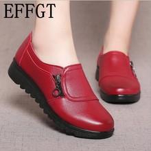 Effgt/; Модные женские повседневные туфли из мягкой кожи на плоской подошве с круглым носком; женские туфли-оксфорды на плоской подошве с боковой молнией; новые тонкие туфли для мам