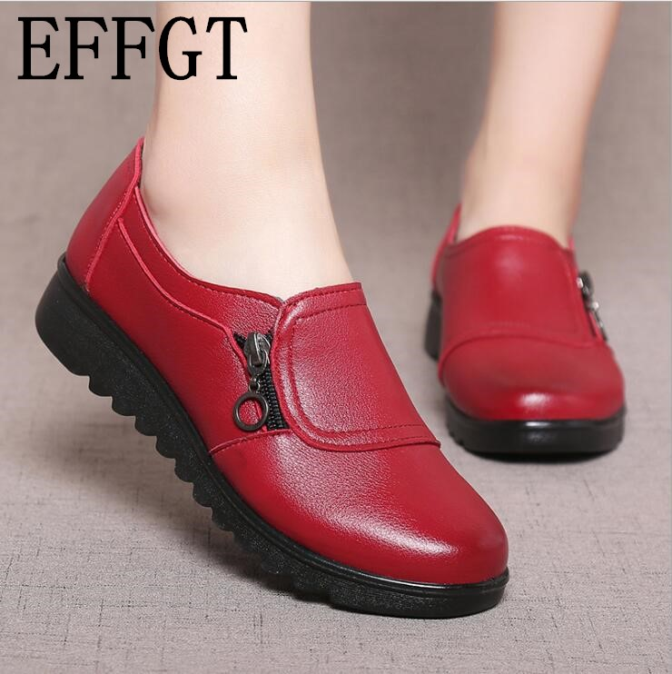 EFFGT 2018 Fashion Soft Leather Round head Women Casual Flats Ladies Side Zipper Flat Oxford Shoes New Mother single Shoes(China)