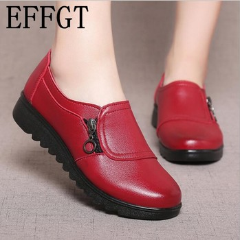 EFFGT 2018 Fashion Soft Leather Round head Women Casual Flats Ladies Side Zipper Flat Oxford Shoes New Mother single Shoes