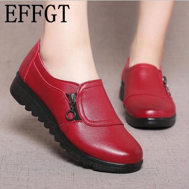 EFFGT 2018 moda de cuero suave cabeza redonda mujer Casual planos señoras lado cremallera plana Oxford zapatos nuevos madre zapatos individuales