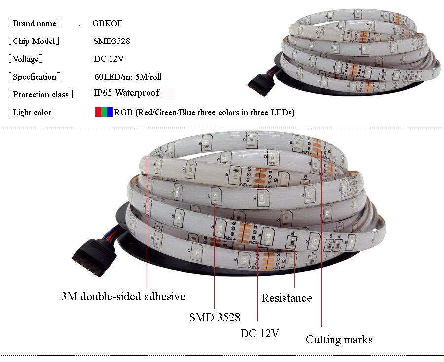 5M 10M 15M WiFi RGB LED strip light Waterproof SMD5050 3528 2835 DC 12V led tiras diode flexible ribbon contoller+plug led strip