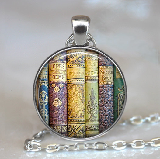 62e08c98746 (1 Piece Lot) Shabby Books pendant