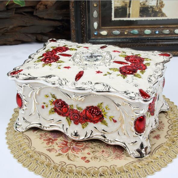 Grande taille Vintage fleur sculpté boîte à bijoux multi-couleurs émaillé avec des pierres décor collier pendentif anneaux cadeaux mallette de rangement - 6