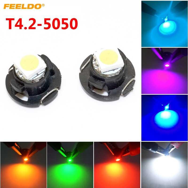 FEELDO 2 cái Tự Động Xe T4.2 1SMD 5050 Con Chip LED Bảng Điều Khiển Meter Bảng Điều Chỉnh LED Ánh Sáng Bóng Đèn 7-Màu Sắc # FD-4760