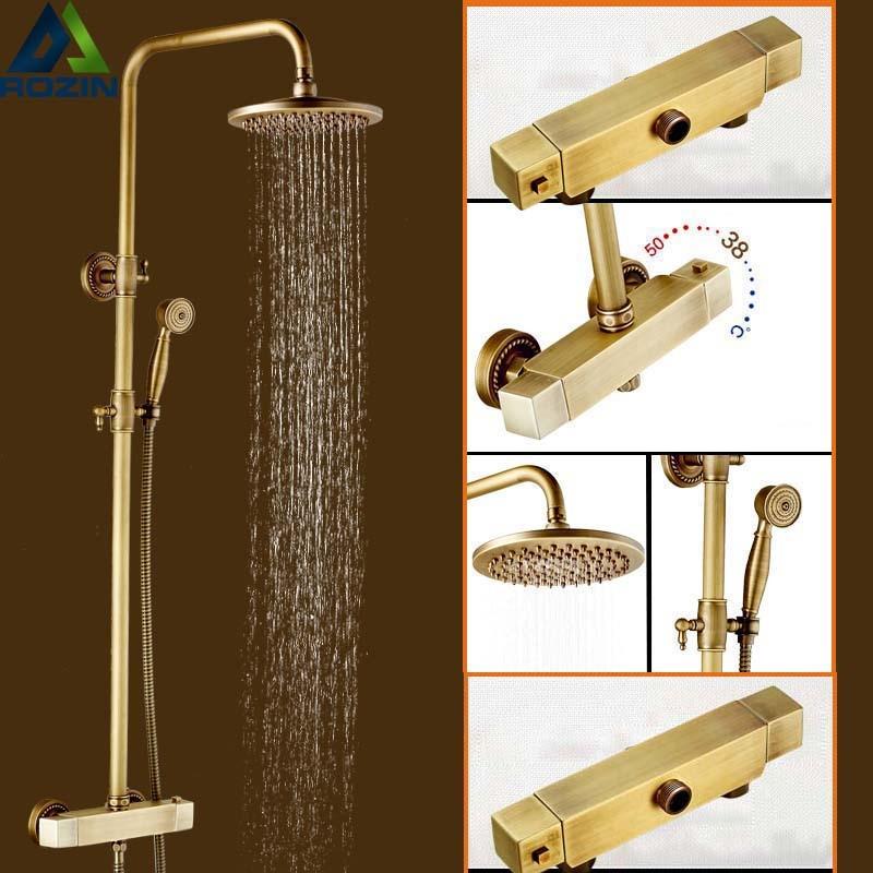 Best Quality Antique Brass Rainfall 8 Shower Head Thermostatic Mixer Vavle Shower Faucet Temperature Control Shower Column