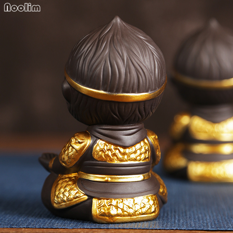 NOOLIM Chinese Purple Clay Kung Fu Tea Set Monkey King Tea Pet for Home Tea Tray Decoration