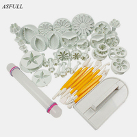 ASFULL New 46Pcs Set Fondant Cake Decorating Sugarcraft Plunger Cutter Tools Mold Cookies Full Set Mold
