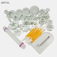 ASFULL Nowy 46 Sztuk/zestaw Narzędzia Kremówka Ciasto Dekorowanie Sugarcraft Tłok Cutter Mold Cookies pełny zestaw formy do darmowej wysyłki