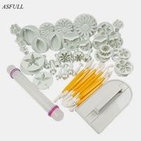 ASFULL New 46Pcs Set Fondant Cake Decorating Sugarcraft Plunger Cutter Tools Mold Cookies Full Set Mold