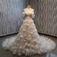 Lover Kiss Vestido De Noiva Princess Strapless Flowers Wedding Dresses Sequined Bodice Boho Bridal Gowns Real suknia slubna 2019