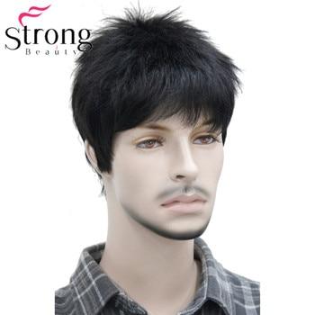 Court Striaght Pleine Perruque Synthétique pour Hommes Mâle Cheveux Fleeciness Réaliste Perruques