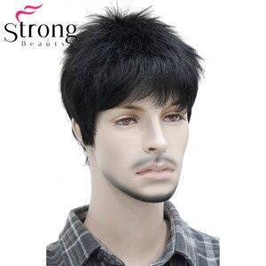 Image 1 - Короткий полосатый полностью синтетический парик для мужчин, мужские волосы, флисовые реалистичные парики