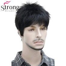 קצר Striaght מלא סינטטי פאה לגברים זכר שיער Fleeciness מציאותי פאות