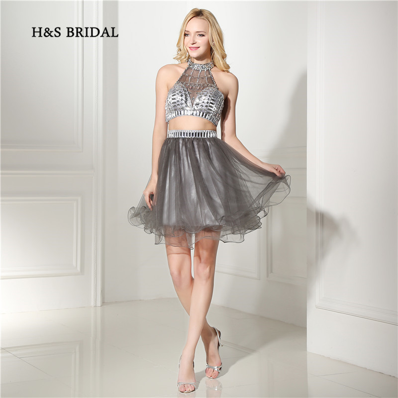 H&S Bridal Grey Tulle 2 Pieces   Cocktail     Dresses   Short Halter Backless Mini Homecoming   Dresses   Girls Party Gowns
