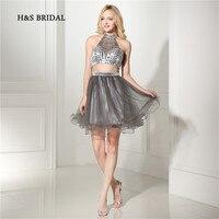H & S свадебные серые тюлевые коктейльные платья из 2 предметов Короткий держатель спинки мини платья для возвращения на родину платья для де